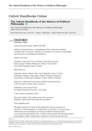 Portada del libro The Oxford Handbook of the History of Political Philosophy