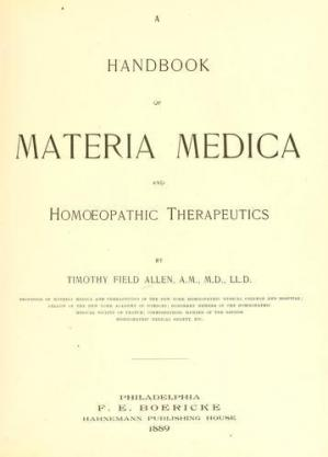 Book cover Timophy. Handbook of Materia Medica and Homoeopathic Therapeutics