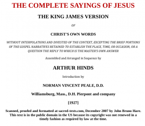 Book cover THE COMPLETE SAYINGS OF JESUS - Arthur Hinds