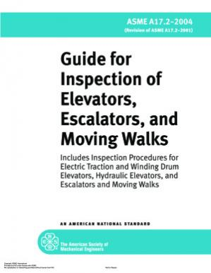 A capa do livro ASME A17.2:2004 Guide for Inspection of Elevators, Escalators, and Moving Walks