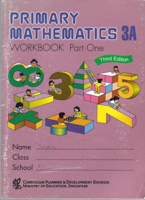 A capa do livro Singapore Math 3A Workbook Part 1