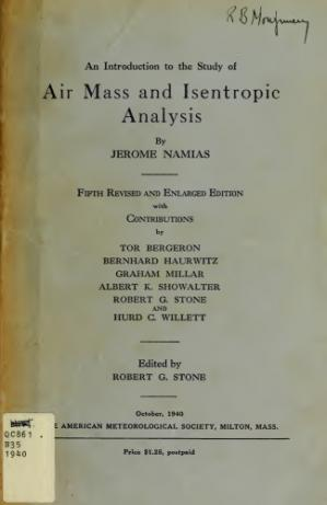 Kulit buku An Introduction to the Study of Air Mass and Isentropic Analysis
