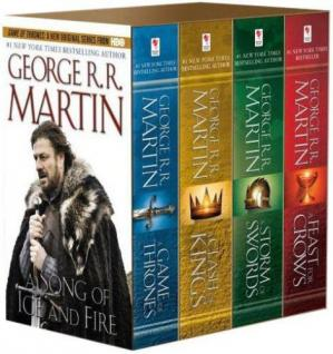 Okładka książki Game of Thrones Boxed Set A Game of Thrones, a Clatorm of Swords, and a Feast for Crows