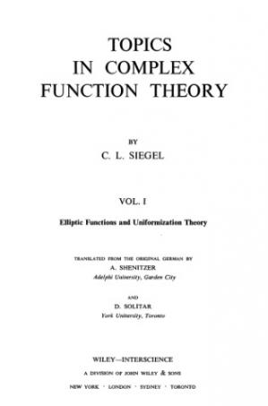 Book cover Topics in Complex Function Theory, Vol. 1: Elliptic Functions and Uniformization Theory