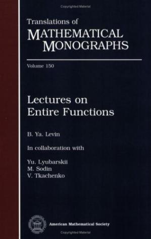 Book cover Lectures on entire functions
