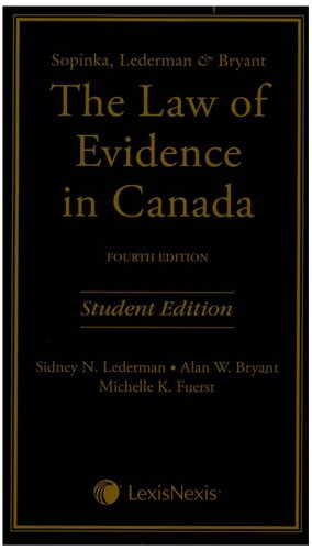 表紙 The Law of Evidence in Canada