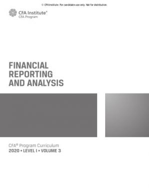 Book cover CFA 2020 Level 1 Volume 3 Financial Reporting and Analysis