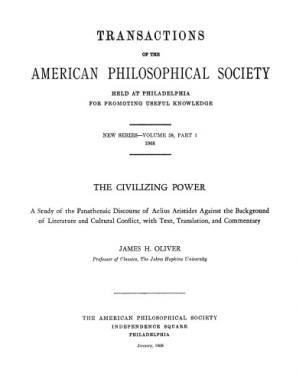 Обложка книги The Civilizing Power: A Study of the Panathenaic Discourse of Aelius Aristides against the Background of Literature and Cultural Conflict, with Text, Translation, and Commentary (Transactions of the American Philosophical Society, n.s. 58.1  1968 : 1-223.