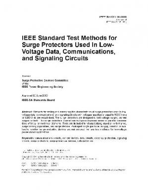 Okładka książki C62.36-2000 IEEE Standard Test Methods for Surge Protectors Used in Low-Voltage Data, Communications, and Signaling Circuits