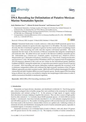 Обкладинка книги DNA Barcoding for Delimitation of Putative Mexican Marine Nematodes Species
