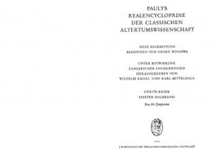 Portada del libro Paulys Realencyclopädie der classischen Altertumswissenschaft: neue Bearbeitung, Bd.4A 1 : Stoa - Symposion: Bd IV A, Hbd IV A,1