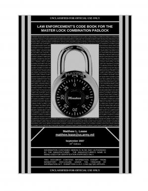 Book cover Law Enforcement's Code Book for the Master Lock Combination Padlock 18th Edition