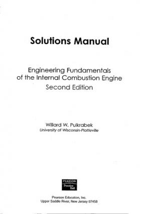 Book cover Solutions Manual for Engineering Fundamentals of the Internal Combustion Engine