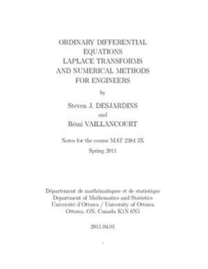 Book cover Ordinary Differential Equations, Laplace Transform and Numerical Methods