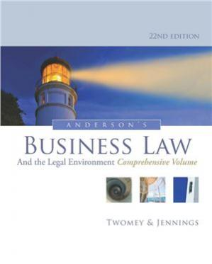 Copertina Anderson's Business Law and the Legal Environment