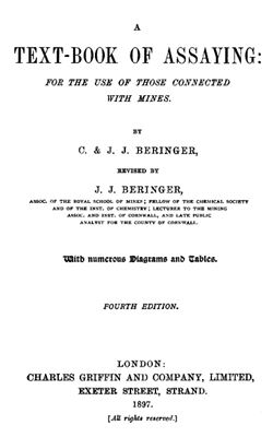 Book cover A text-book of assaying: for the use of those connected with mines