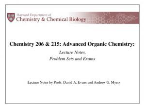 Portada del libro Evans and Myers Organic Chemistry Lecture Notes (Chem 206 and 215)
