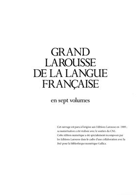 غلاف الكتاب Grand Larousse de la langue française. Tom 7 (Sus-Z)