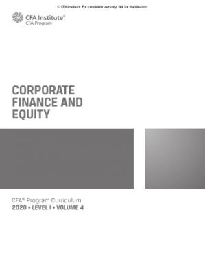 Book cover CFA 2020 Level 1 Volume 4 Corporate Finance and Equity