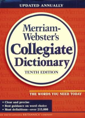 Book cover Merriam Webster's Collegiate Dictionary