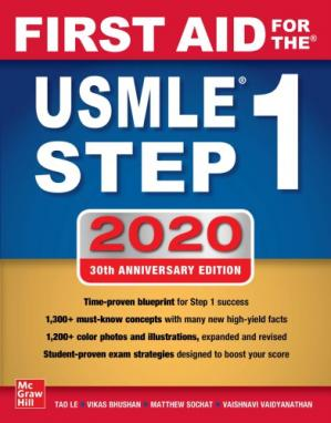 Обложка книги First Aid for the USMLE Step 1 2020, 30th Anniversary Edition