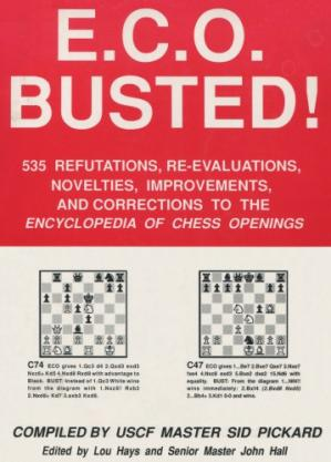 Εξώφυλλο βιβλίου E.C.O. Busted: Five Hundred Thirty-Five Nefutations, Re-Evaluations, Novelties, Improvements and Connections to the Encyclopedia of Chess Openings