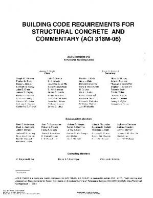 Book cover Building Code Requirements for Structural Concrete and Commentary