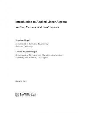 A capa do livro Introduction to Applied Linear Algebra: Vectors, Matrices, and Least Squares