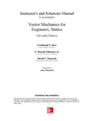 Book cover Vector Mechanics for Engineers, Statics and Dynamics - Instructor Solution Manual
