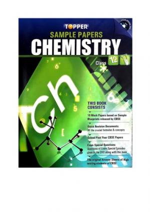 Book cover Topper Sample Papers CBSE Chemistry class 12 standard XII Exam Special Practice Tests Mock Examination Paper Quick Revision Prakash Books