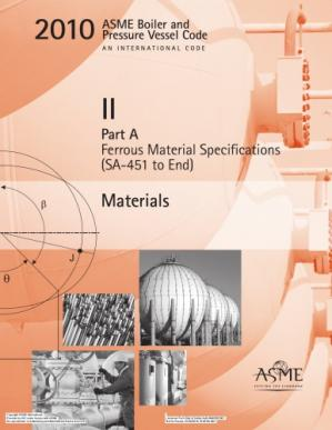 Book cover ASME BPVC 2010 - Section II, Part A: Materials - Ferrous Material Specifications (SA-451 to End)