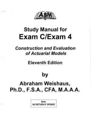 表紙 ASM Study Manual For Exam C/Exam 4 Construction and Evaluation of Actuarial Models