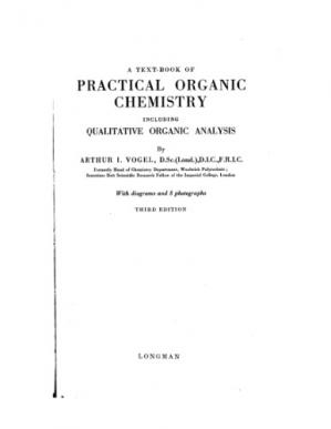 Book cover Vogels textbook of practical organic chemistry: Including qualitative organic analysis