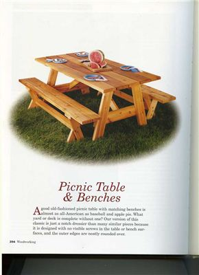 Book cover Picnic table and benches