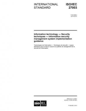 Book cover ISO/IEC 27003:2010, Information technology - Security techniques - Information security management system implementation guidance