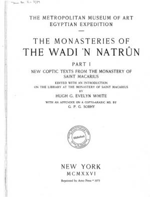 Book cover The Monasteries of the Wadi 'N Natrun Part 1: New Coptic Texts from the Monastery of Saint Macarius