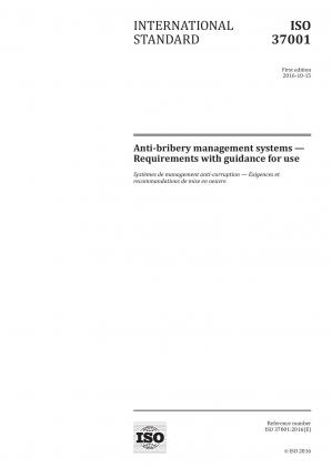 Book cover ISO 37001:2016 Anti-bribery management systems — Requirements with guidance for use