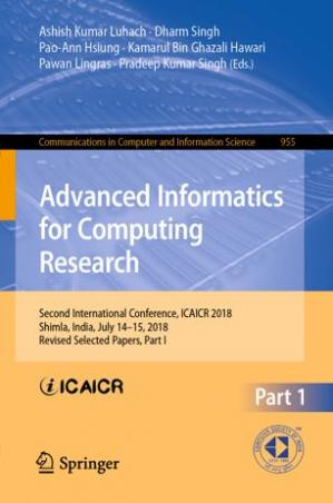 Sampul buku Advanced Informatics for Computing Research: Second International Conference, ICAICR 2018, Shimla, India, July 14–15, 2018, Revised Selected Papers, Part I