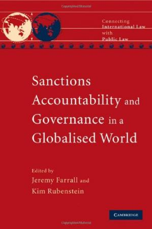A capa do livro Sanctions, Accountability and Governance in a Globalised World (Connecting International Law with Public Law)