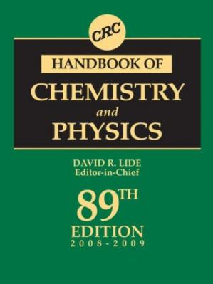 Book cover CRC Handbook of Chemistry and Physics, 89th Edition