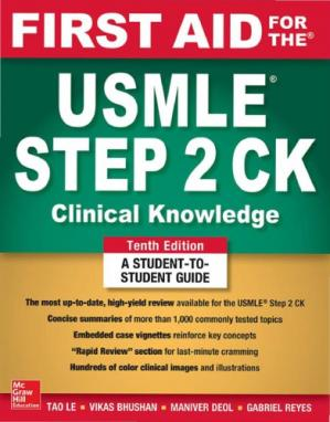 Book cover first aid for the usmle step 2 CK tenth edition