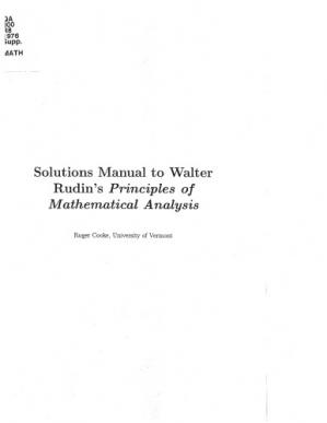 Book cover Solutions Manual to Principles of Mathematical Analysis