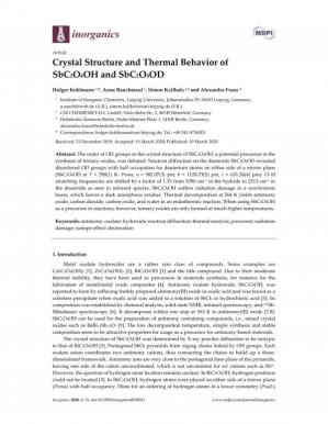 Book cover Crystal Structure and Thermal Behavior of SbC2O4OH and SbC2O4OD