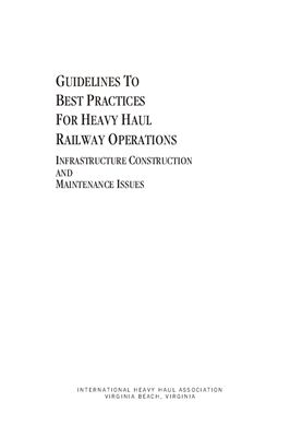 Book cover Guidelines to Best Practices for Heavy Haul Railway Operations