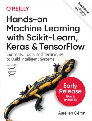 A capa do livro Hands-On Machine Learning with Scikit-Learn, Keras, and Tensorflow: Concepts, Tools, and Techniques to Build Intelligent Systems
