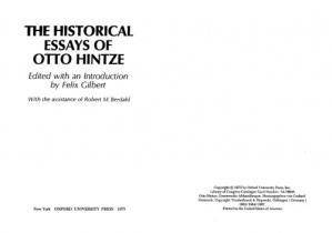 Book cover The Historical Essays of Otto Hintze
