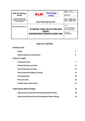 Book cover Storage Tank Selection and Sizing (Engineering Design Guideline)