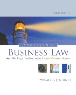 Book cover Anderson's Business Law and the Legal Environment, Comprehensive Volume